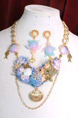 6834 Set Of Art Jewelry 3D Effect Vivid Sleeping Mermaid Necklace+ Earrings
