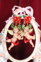 6836 Baroque Red Roses Musical Cherubs Red Ribbon Studs Earrings