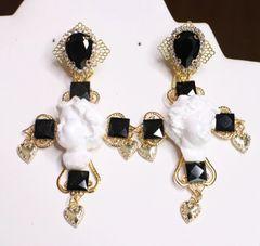SOLD! 6838 Baroque White Cherubs Angels Heads Cross Studs Earrings