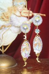6839 Baroque Art Deco Pattern Sun Moon Light Weight Studs Earrings
