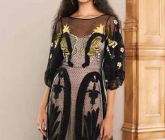 6782 High-End Runway 2020 Dramatic Victorian Sheer Polka Dot Embroidery Black Mid Cuff Dress