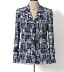 6842 2020 Check Grey Blue Tweed Single Breasted Blazer