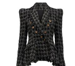 6843 Runway 2020 Check Grey Black Fringe Tweed Double Breasted Blazer