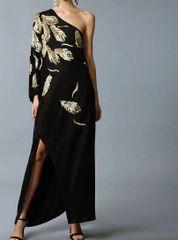6851 Runway 2020 Gold Sequined Feather Elegant One-shoulder Midi Dress