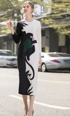 6852 Runway 2020 Fancy Monkey Print Black/White Midi Dress