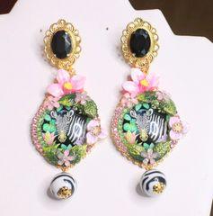 6854 Baroque Zebra Print Cameo Studs Earrings