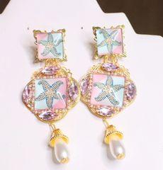 6855 Baroque Sea Shell Pastel Cameo Studs Earrings