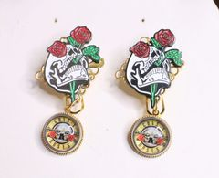 6856 Baroque Enamel Scull Gun n Roses Studs Earrings