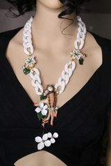 SOLD! 6860 Baroque Hand Painted Great Gatsby Hand Flowers Necklace