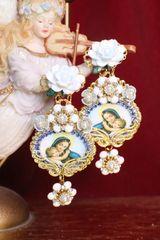 6861 Virgin Mary White Flower Stunning Studs Earrings