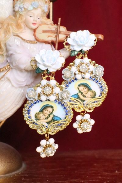 6861 Virgin Mary White Flower Stunning Studs Earrings