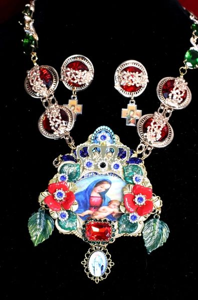 6863 Set Of Madonna And a Child Red Flowers Rhinestone Massive Necklace+ Earrings