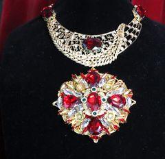 SOLD! 6864 Set Of Alta Moda Gold Tone Massive Red Rhinestones Pendant Necklace+ Earrings