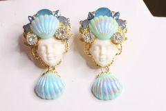 6866 Mermaid Face Shell Nautical Studs Earrings