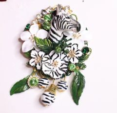 6867 Baroque 3D Effect Hand Painted Zebra Flower Huge Brooch