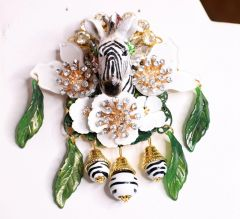 6868 Baroque 3D Effect Hand Painted Crystal Flowers Zebra Flower Huge Brooch
