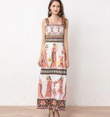 6850 Runway 2020 Greek Revival Print Midi Dress