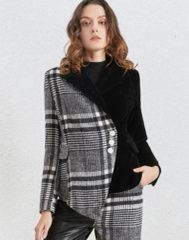 6874 Runway 2020 Plaid Tweed/ Velvet Blazer