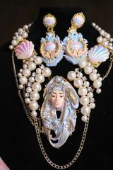 SOLD! 6876 Art Deco Mermaid Face Pearl Huge Necklace