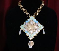 SOLD! 6877 Art Deco Iridescent Butterfly Chained Huge Necklace