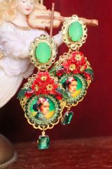 6879 Frida Kahlo Green Red Cameo Studs Earrings