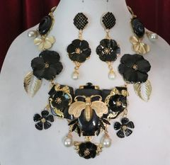 SOLD! 6880 Set Of Genuine Solar Quartz Agate Baroque Bee Dragon Pearl Necklace+ Earrings
