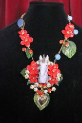 6881 Art Jewelry 3D Effect Hand Painted Unicorn Red Flowers Massive Statement Necklace