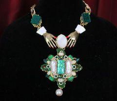 SOLD! 6883 Genuine Druzy Biwa Pearls Baroque Maltese Cross Hands Necklace