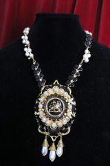 6884 Baroque Lion Pearl Massive Pendant Necklace