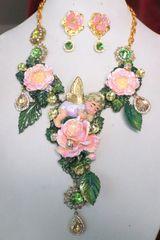 6888 Set Of Sleeping Cherub Angel Flowers Hand Painted Massive Necklace+ Earrings