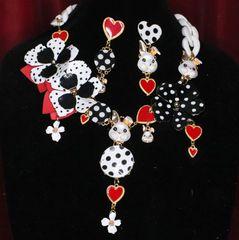 6889 Set Of Polka Dot Trendy Massive Flowers Enamel Bunny Necklace+ Earrings