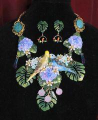6890 Set Of Lilac Vivid Love Parrots Genuine Mystic Opal Hydrangea Necklace + Earrings