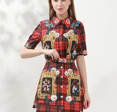 6891 Runway 2020 Baroque Plaid Print Shirt+ Mini Pleated Skirt Twinset