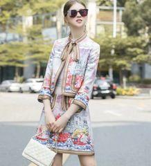 6892 Runway 2020 Baroque Novelty Print Blazer +Mini Pleated Skirt Twinset