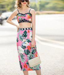 6893 Runway 2020 Polka Dot Tropical Print +Midi Skirt+ Crop Top Twinset