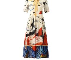 6894 Runway 2020 Novelty Tribal Print Midi Dress