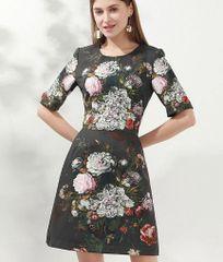 6895 Runway 2020 Baroque Floral Print Black Mini Dress