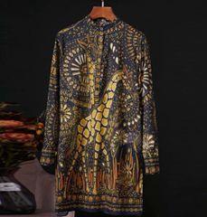 6897 Runway 2020 Baroque Mosaic Forest Print Shirt- Mini Dress