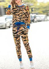 6899 Runway 2020 Tiger Print Top +Pants Track Suit Twinset