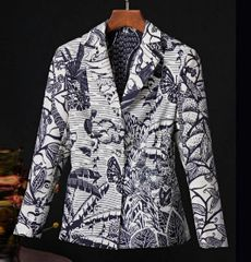6900 High-End Runway 2020 Tropical Print Single Breasted Fit Blazer