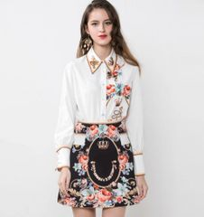 6902 Runway 2020 Baroque Floral Print Shirt +Skirt Twinset