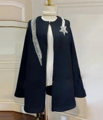 6903 Runway 2020 Wool Blend Coco Star Sequined Bolero Coat