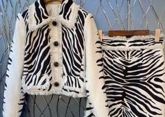 6904 High-End Runway 2020 Zebra Print Shirt +Skirt Twinset