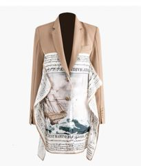 6908 High-End Runway 2020 Nautical Scarf Asymmetrical Camel Blazer