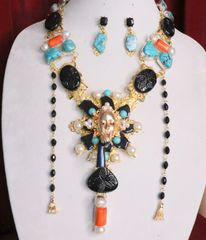 SOLD! 6909 Set Of Art Deco Genuine Turquoise Agate Pearls Baroque Necklace+ Earrings