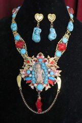 SOLD! 6910 Set Of Art Deco Genuine Turquoise Pearls Baroque Necklace+ Earrings