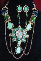 SOLD! 6913 Genuine Triplet Opal Tourmaline Art Nouveau Necklace+ Earrings
