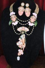 SOLD! 6914 Asian Revival Faces Art Nouveau Necklace+ Earrings