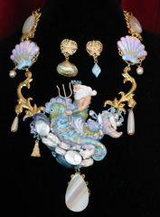 SOLD! 6916 Set Of Genuine Biwa Pearls Agate Neptun Poseidon Shell Necklace+ Earrings