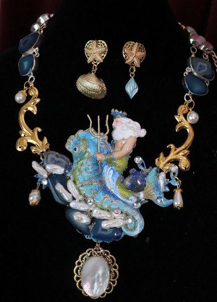 6917 Set Of Genuine Biwa Pearls Agate Neptun Poseidon Shell Necklace+ Earrings